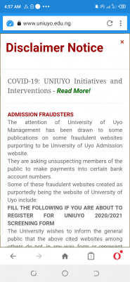 UNIUYO disclaims fraudulent admission websites