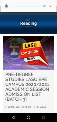 LASU 3rd batch pre-degree admission list for 2020/2021 session
