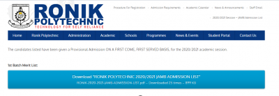 Ronik Polytechnic first batch admission list for 2020/2021 session