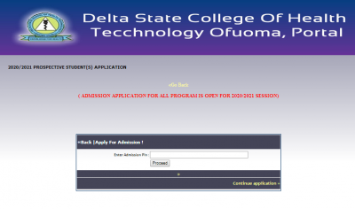 Delta State College of Health Technology admission form for 2020/2021 session