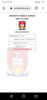 UNIMED admission list for 2020/2021 session
