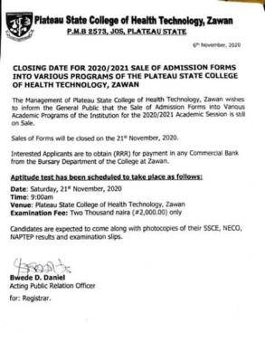 Plateau State College of Health Technology Zawan. admission form, 2020/2021 session