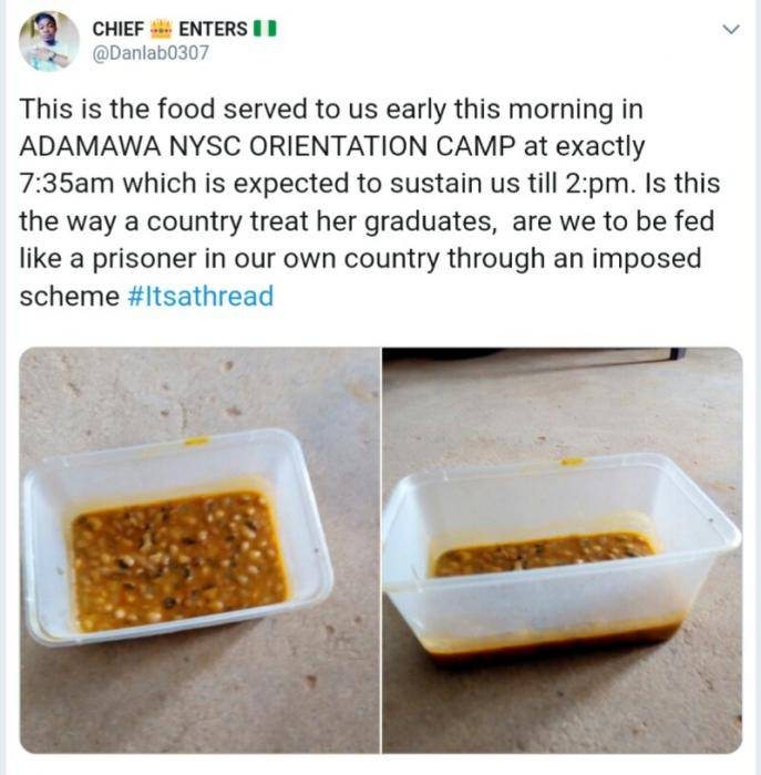 Corps Member Cries Out Over Poorly Served Food in Camp