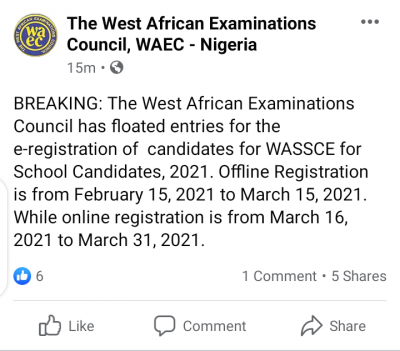 WAEC announces registration for 2021 May/June SSCE