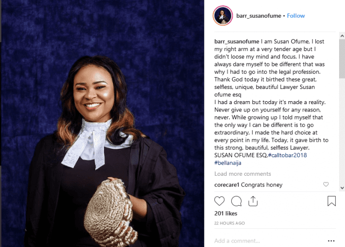 Armless Lady Shares Inspiring Post as She Becomes a Lawyer