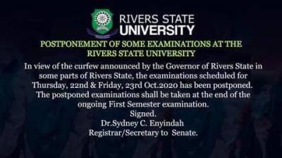 RSUST notice on postponement of some exams