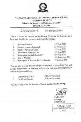 Nasarawa State College of Health Sciences notice on payment of fees and academic events