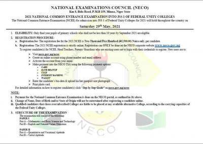 NECO announces 2021 National Common Entrance Exam form for admission into unity Schools