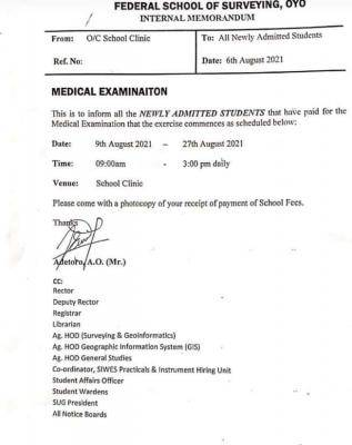 FSS Oyo notice to new students on medical examination