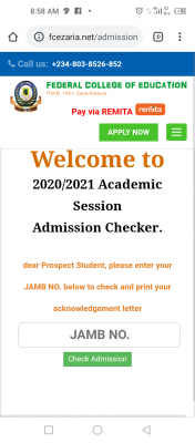 FCE Zaria NCE admission list for 2020/2021 session
