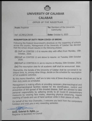 UNICAL announces staff resumption