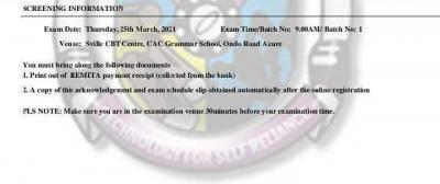 FUTA printing of 2020 Post-UTME screening schedule has commenced
