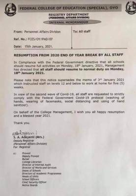 FCE Oyo, special notice on resumption to staff