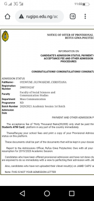 RUGIPO 1st batch ND admission list for 2020/2021 session