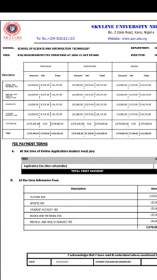 Skyline University school fees schedule for 2020/2021