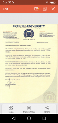 Evangel university resumption date announced