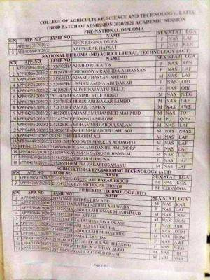 College of Agriculture, Science and Technology, Lafia Pre-ND & ND 3rd admission lists, 2020/2021