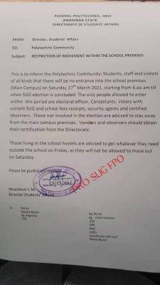 Fed Poly Oko notice on restriction of movement within the school premises