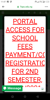 TOPS school fees and course registration deadline, 2019/2020