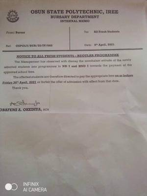 OSPOLY notice to students regarding fee payment, 2020/2021