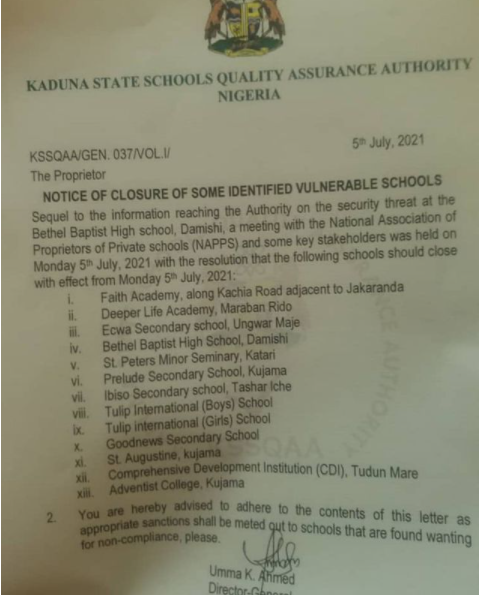 Kaduna state government orders closure of 13 schools
