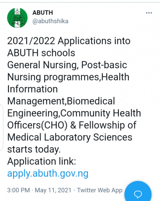ABUTH Nursing and Health Programmes admission, 2021/2022