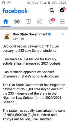 Oyo govt begins payment of N116.5m bursary to 233 law school students