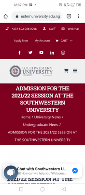 Southern University Post-UTME form for 2021/2022 session