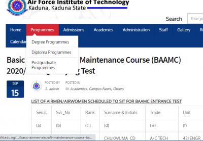 AFIT basic Airmen Aircraft Maintenance Course (BAAMC) 2020/2021 Qualifying Test