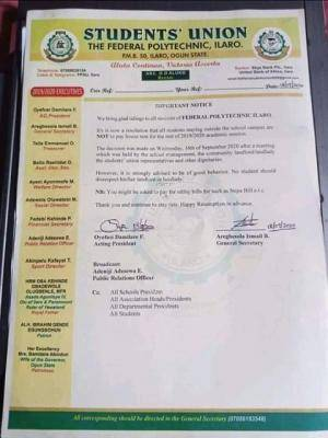 Ilaro Poly SUG asks students not to pay house rent