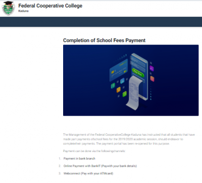 Federal Cooperative College, Kaduna notice on completion of fees Payment, 2019/2020