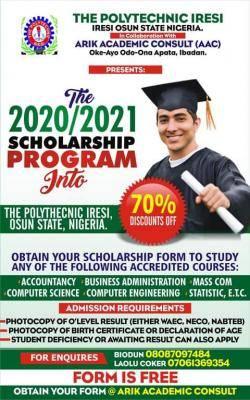 The Polytechnic Iresi scholarship for 2020/2021 session