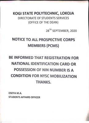 Kogi State Polytechnic Issues Notice To All Prospective Corps Members