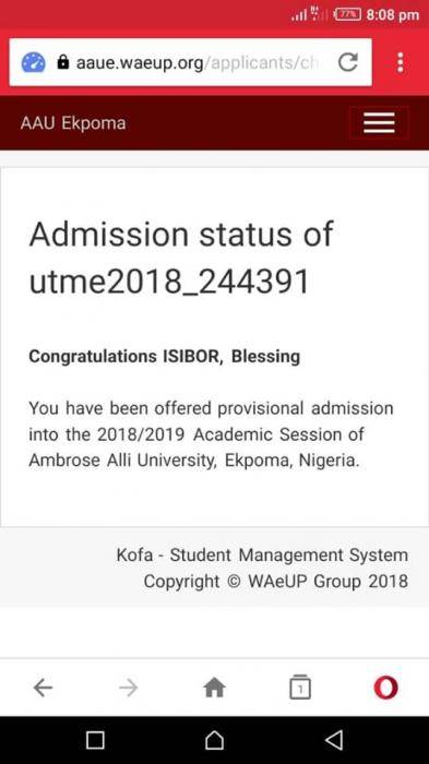 AAU Admission List, 2018/2019 Out
