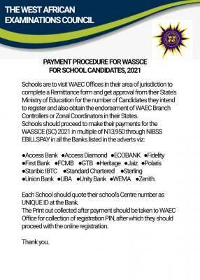 WAEC notice to schools on payment of 2021 WASSCE for school candidates
