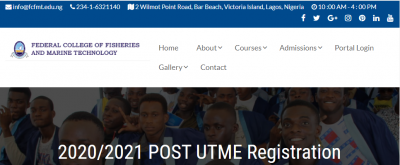 Federal College of Fisheries and Marine Technology admissions for 2020/2021 session