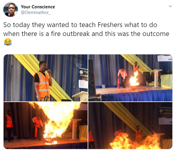 Fire Lessons Go Wrong in an Attempt to Teach Freshers How to Put Off Fire Using an Extinguisher
