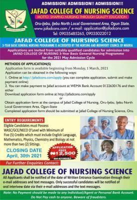 JAFAD College of Nursing Science admission form, 2021/2022