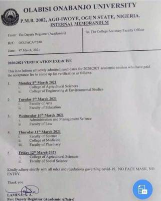 OOU notice to newly admitted students on verification exercise, 2020/2021 session