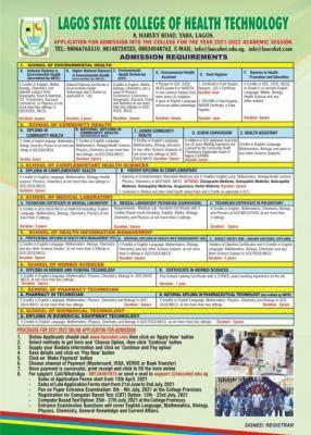 LASCOHET admission form for 2021/2022 session
