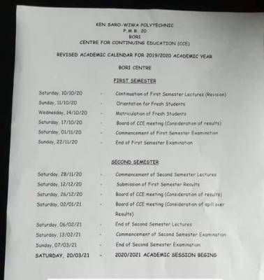 Ken Saro Wiwa Polytechnic Center for Continuing Education Revised Academic Calendar for 2019/2020 Session