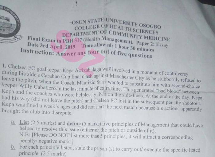 Osun State University Students Asked Questions on Football During Exam
