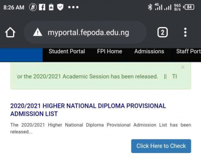Federal Polytechnic Idah HND admission list for 2020/2021 session