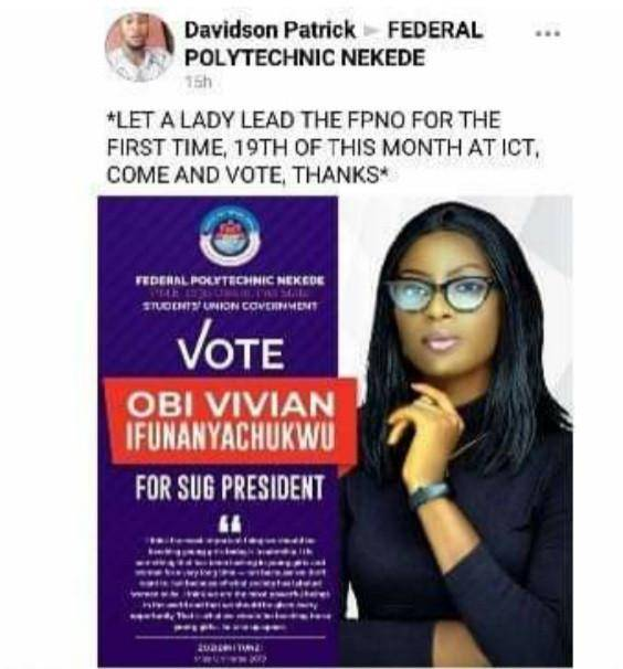 Nekede poly male students object to a female student candidacy for SUG President