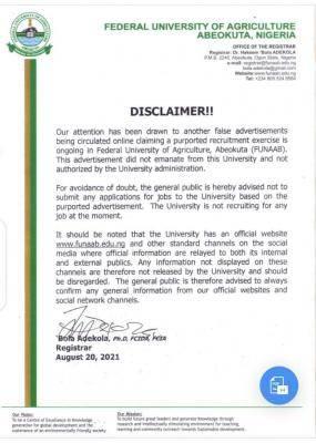 FUNAAB disclaimer notice on recruitment