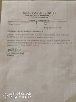 Bingham University notice on continuation of academic activities