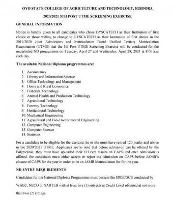 OYSCATECH 5th admission screening exercise, 2020/2021