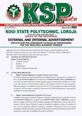Kogi State Poly HND, PRE ND ,IJMB admission forms for 2020/2021 session