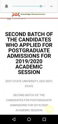 EKSU 2nd batch postgraduate admission list for 2019/2020 session