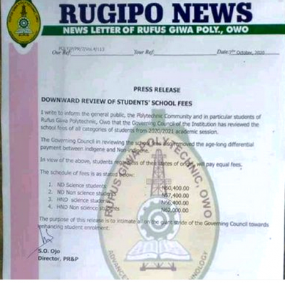 RUGIPO announces reduction in school fees